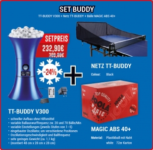 Set JOOLA Buddy 300 + Red + 72 Pelotas Magic ABS 40+